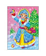 Мозаика из помпонов Снежная красавица Рыжий кот
