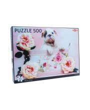 Пазлы щенок и розы 500 деталей