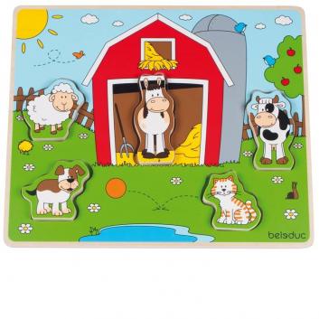 Игрушки, Развивающий пазл Веселые друзья на ферме 5 деталей Beleduc 640297, фото