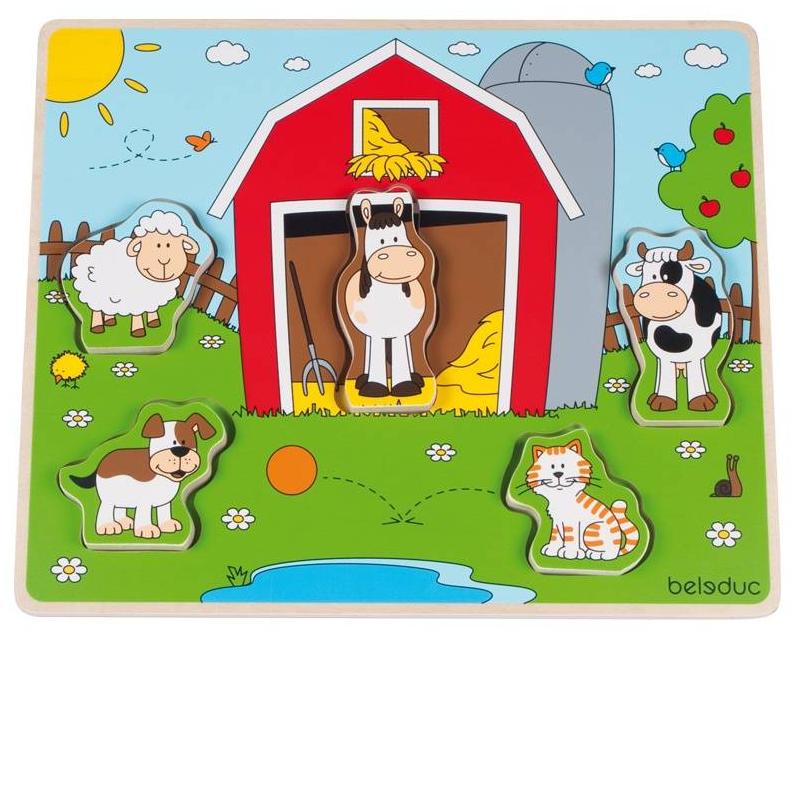 Развивающий пазл Веселые друзья на ферме 5 деталей