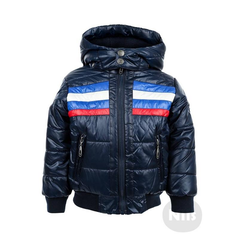 КурткаТемно-синяя куртка марки BLUE SEVEN для мальчиков. Куртка со съемным капюшоном и двумя карманами на молнии дополнена мягкой флисовой подкладкой. Манжеты и низ куртки сшиты из трикотажа резиночкой. Куртка украшена красными, белыми и синими полосками.<br><br>Размер: 12 месяцев<br>Цвет: Темносиний<br>Рост: 80<br>Пол: Для мальчика<br>Артикул: 604210<br>Страна производитель: Китай<br>Сезон: Осень/Зима<br>Состав: 100% Полиэстер<br>Состав подкладки: 100% Полиэстер<br>Бренд: Германия<br>Наполнитель: 100% Полиэстер