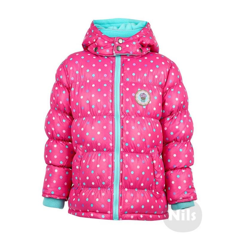 КурткаРозовая куртка в горошек марки BLUE SEVEN для девочек. Ярко-розовая куртка со съемным капюшоном дополнена мягкой флисовой подкладкой бирюзового цвета. Есть удобные трикотажные манжеты, два кармана на кнопках и один внутренний карман на липучке, а также светоотражающий элемент. Куртка украшена нашивкой с пирожным.<br><br>Размер: 4 года<br>Цвет: Розовый<br>Рост: 104<br>Пол: Для девочки<br>Артикул: 604185<br>Страна производитель: Китай<br>Сезон: Осень/Зима<br>Состав: 100% Полиэстер<br>Состав подкладки: 100% Полиэстер<br>Бренд: Германия<br>Наполнитель: 100% Полиэстер