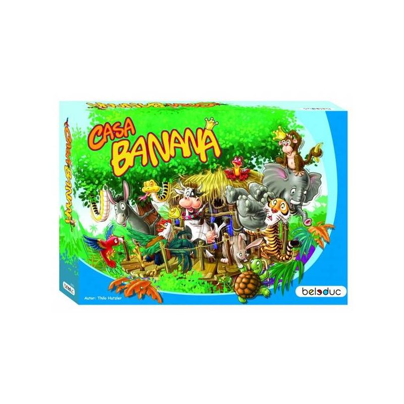 Развивающая игра Каса БананаРазвивающая игра Каса Банана марки Beleduc.<br>По джунглям свободно разгуливают животные! Король обезьян приглашает своих друзей-зверей со всего света на большую вечеринку в джунглях, чтобы показать им свое новоежилище. Все звери оценили доброжелательность этого приглашения и большим потоком устремились к новому домику. Наконец-то они могут прийти в гости к своему близкому другу, живущему в огромных, необъятных джунглях. Однако, неизвестно, сможет ли новый дом вообще выдержать столько гостей. Чем больше животных залезет в домик, тем неустойчивее становится он. Также важно выбрать правильную стратегию — как расположить как можно больше зверей в домике, чтобы он или сами звери не упали?<br>Развивающая игра включает94 детали: 20 фигурок животных, 63 фишки бананов, 5 основ для дома, 3 деревянных столбика, 1 кубик с числами, 1 кубик с символами, 1 мешочек.<br>Материал: береза.<br><br>Возраст от: 4 года<br>Пол: Не указан<br>Артикул: 640320<br>Бренд: Германия<br>Размер: от 4 лет<br>Материал: Дерево