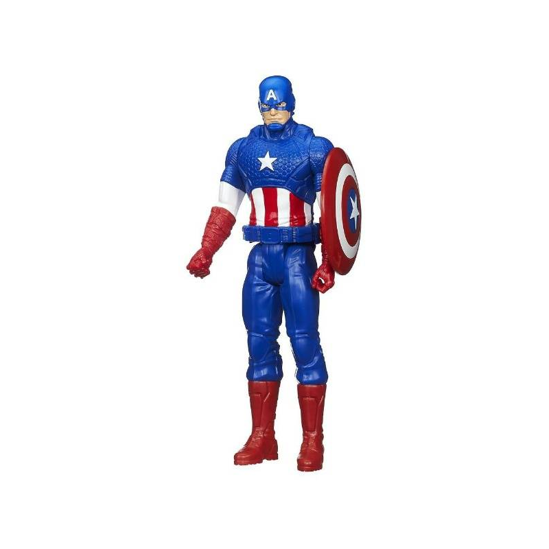 Игрушка Avengers Титаны. Капитан АмерикаИгрушка Avengers Титаны: Фигурка Мстителя Капитан Америка, 30 см марки Hasbro.<br>Для поклонников комиксов и фильмов о вселенной Marvel американская компания Hasbro разработала коллекцию фигурок Мстителей. В данной серии представлен Капитан Америка, Железный Человек, Сокол и Тор. Высота каждой фигурки составляет 30 см.Капитан Америка одет в костюм сине-красного цвета с элементами в виде звезд. Капитан Америка является положительным персонажем из вселенной Marvel. Он вооружен неразрушимым щитом, сделанным из вибраниума. Экспериментальная сыворотка довела до максимума его силу и выносливость.Фигурка имеет подвижные руки и ноги, что позволяет принимать различные боевые позы. Игрушка сделана из прочного пластика, поэтому она вынесет все игрушечные испытания и бои, которые придумает ей ее обладатель.<br>Материал: пластик.<br>Высота: 30 см.<br><br>Возраст от: 4 года<br>Пол: Для мальчика<br>Артикул: 640482<br>Бренд: США<br>Лицензия: Avengers<br>Размер: от 4 лет