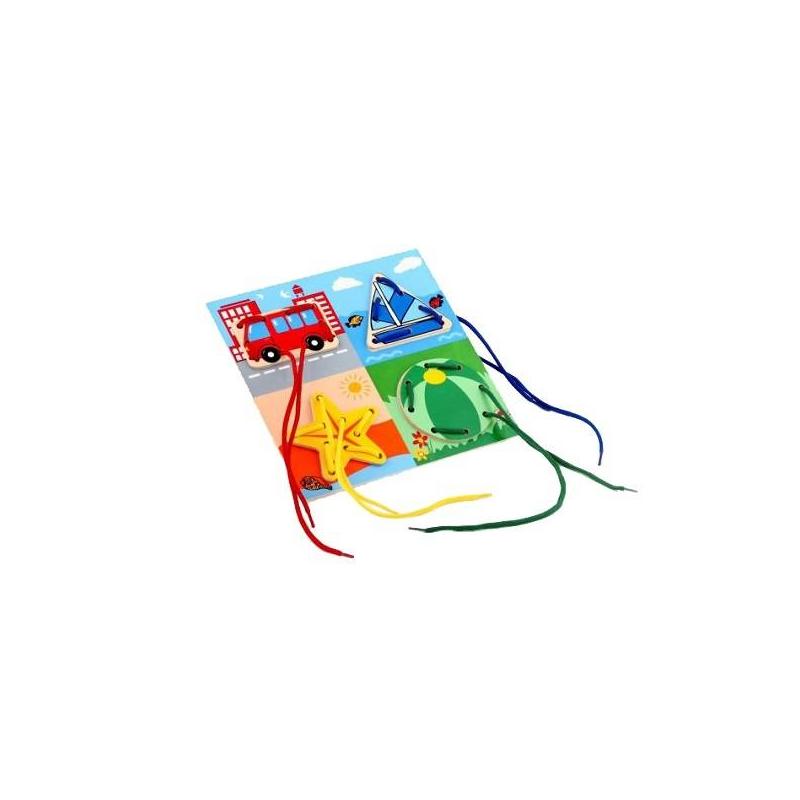 Шнуровка Окружающий мирШнуровка Окружающий мир марки ЛЭМ.<br>Это содержащая фигурные изображения – звездочки, парусника, арбуза, автобуса и дополнительные детали – деревянная основа. У всех частей головоломки имеются сквозные отверстия для шнурования. Детали прикладываются друг к другу отверстиями и скрепляются при помощи шнурка. При работе с пособием, ребенок развивает мелкую моторику, учится концентрировать внимание, производить целенаправленные действия со шнурками и деталями, скрепляя в одно целое.<br>Для детей от3 лет.<br><br>Возраст от: 3 года<br>Пол: Не указан<br>Артикул: 630336<br>Бренд: Россия<br>Размер: от 3 лет<br>Материал: Дерево