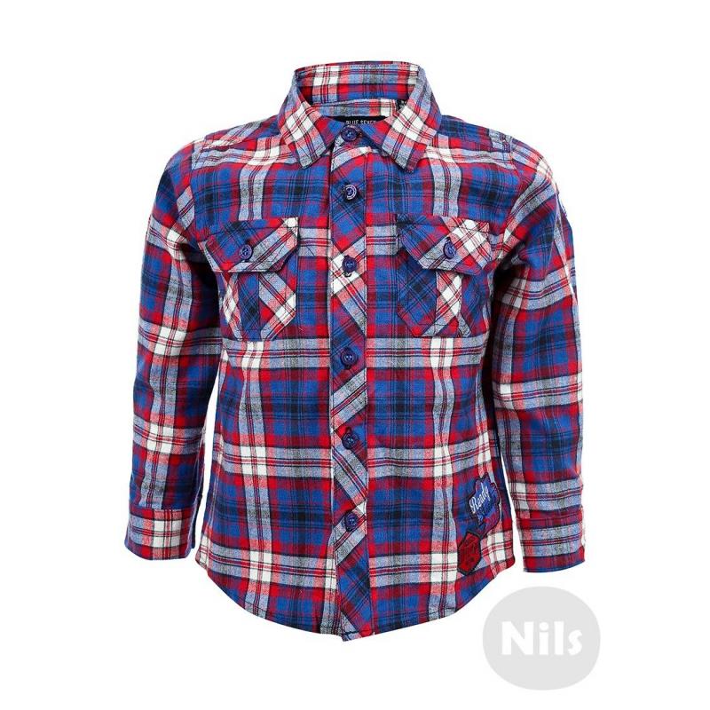 РубашкаРубашка в клетку красно-синегоцвета марки BLUE SEVEN для мальчиков. Рубашка классического кроя выполнена из мягкого стопроцентного хлопка в красно-синюю полоску. Есть два нагрудных кармана с клапанами. Рубашка украшена нашивками и застегивается на пуговицы.<br><br>Размер: 3 месяца<br>Цвет: Синий<br>Рост: 62<br>Пол: Для мальчика<br>Артикул: 604609<br>Страна производитель: Индия<br>Сезон: Всесезонный<br>Состав: 100% Хлопок<br>Бренд: Германия<br>Вид застежки: Пуговицы