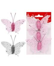 Елочное украшение Бабочки 8 см 3 шт в ассортименте Новогодняя сказка