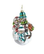 Елочное украшение Снеговики 12 см Новогодняя сказка