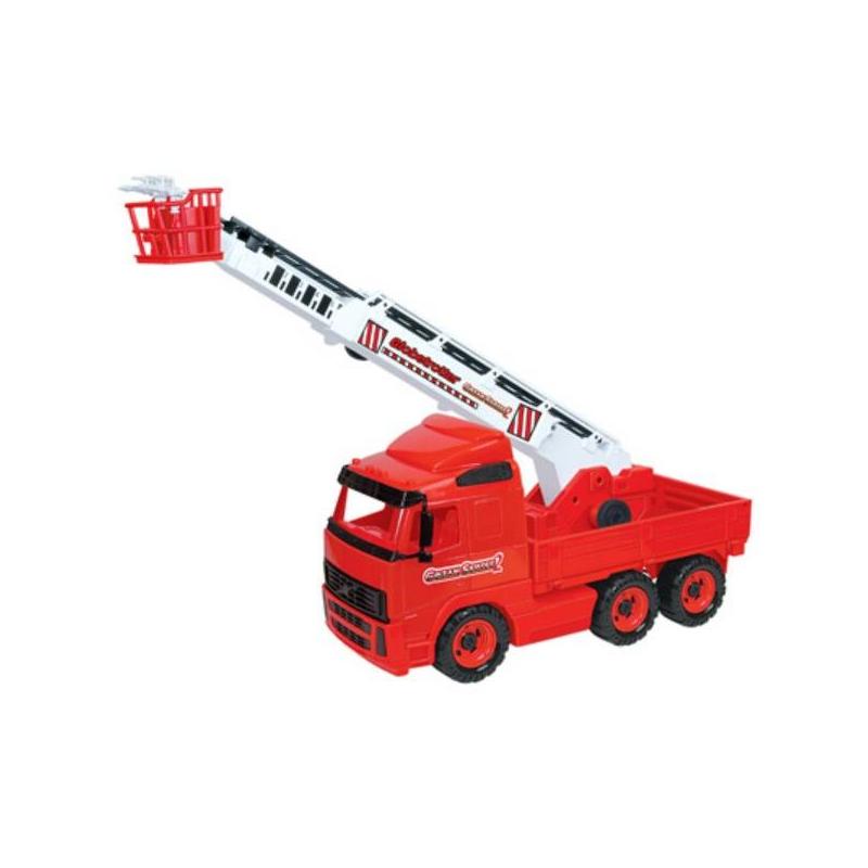 Пожарная машинаИгрушка Пожарная машина марки Полесье.<br>Яркая с большими колесами и занимательными деталями пожарная машинка не причинит вреда малышу, ведь онасделана из безопасного пластика, поэтому играться с ней можно и самыми маленькими детьми.В открытую кабину можно посадить фигурку водителя. Машинкаоснащена телескопической лестницей, которую можно вращать по кругу, также открываются дверцы.<br>Материал: пластик.<br>Размер:61х19х41,5 см.<br><br>Возраст от: 3 года<br>Пол: Для мальчика<br>Артикул: 634108<br>Бренд: Белоруссия<br>Размер: от 3 лет