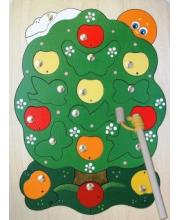 Игра-пазл деревянная магнитная Яблоня-загадка 23 деталей 2 удочки Крона
