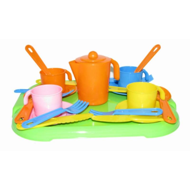 Набор посуды с подносом АнютаНабор посуды с подносом Анюта марки Полесье.<br>Набор большой и разноцветный. Выполнен из прочного, безопасного для детей пластика. Не тяжелый, такой кухонный набор можно легко брать с собой в поездку. Игровой набор можно комбинировать с другими игрушечными наборами, создавая большие пикники и застолья.<br><br>Возраст от: 3 года<br>Пол: Для девочки<br>Артикул: 634117<br>Бренд: Белоруссия<br>Размер: от 3 лет