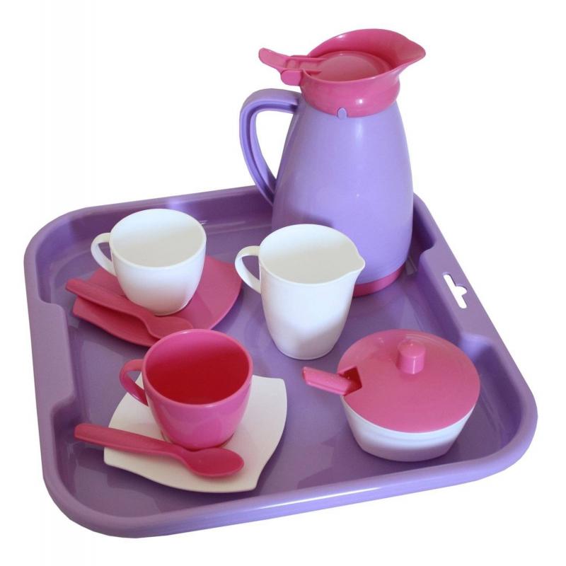 Набор посуды с подносом на 2 персоны АлисаНабор посуды с подносом на 2 персоны Алиса марки Полесье. Набор большой и разноцветный. Выполнен из прочного, безопасного для детей пластика. Не тяжелый, такой кухонный набор можно легко брать для детей с собой в поездку.<br>Комплектация набора:2 чашки, 2 ложки, 2 блюдца,сахарница,большая чашка,чайник,поднос.<br><br>Возраст от: 3 года<br>Пол: Для девочки<br>Артикул: 634118<br>Бренд: Белоруссия<br>Размер: от 3 лет