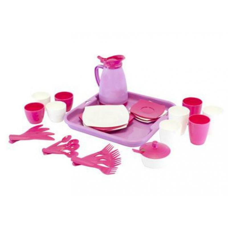 Набор посуды с подносом на 4 персоны АлисаНабор посуды с подносом на 4 персоны Алиса: Pretty Pink марки Полесье. Игровой набор большой и в нежных розовых цветах. Выполнен из прочного, безопасного для детей пластика. Не тяжелый, такой кухонный набор можно легко брать для детей с собой в поездку.<br>Комплектация:4 чашки,4 ложки,4 блюдца,4 вилки,4 ножа,4 большие чашки,4 больших блюдца,сахарница,чайник, поднос.<br>Материал: пластик.<br><br>Возраст от: 3 года<br>Пол: Для девочки<br>Артикул: 635012<br>Бренд: Белоруссия<br>Размер: от 3 лет