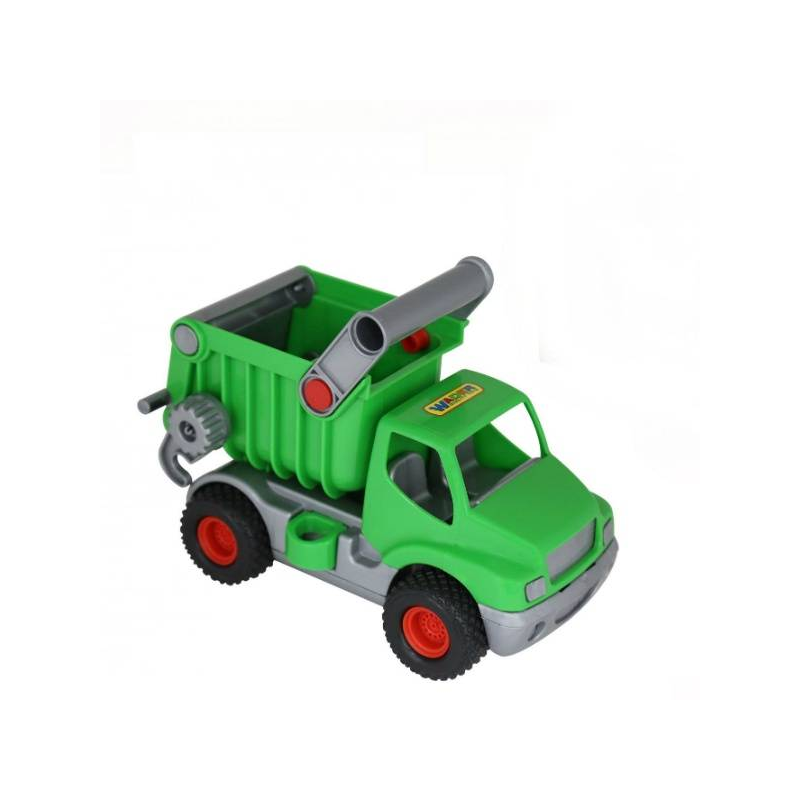 Самосвал КонсТракИгрушка СамосвалКонсТрак зеленого цвета марки Полесье. Данная модель машинкис большими колесами и высокой проходимостью. Сделана из ударопрочной пластмассы.<br>Особенности игрушки:открытая вместительная кабина,кузов активный (в него можно насыпать, перевозить и сваливать различные строительные материалы),удобная ручка для переноски и транспортировки самосвала,большие колеса с протекторами.<br><br>Цвет: Зеленый<br>Возраст от: 3 года<br>Пол: Для мальчика<br>Артикул: 634122<br>Бренд: Белоруссия<br>Размер: от 3 лет