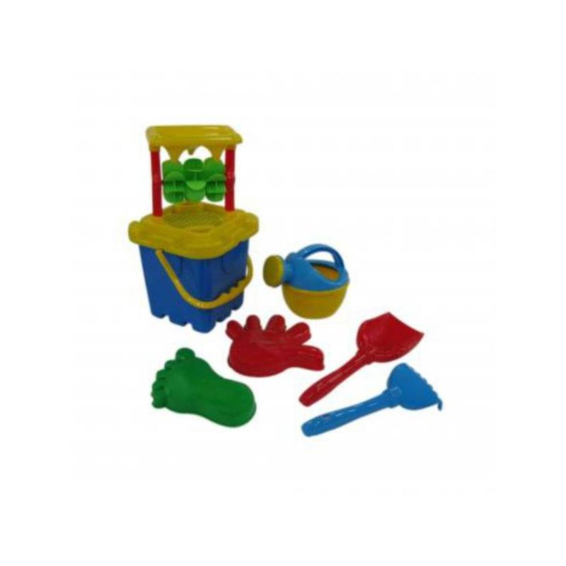 Набор для песочницы №286Набор для песочницы№286 синего цвета марки Полесье. Игровой набор выполнен в ярких, привлекающих внимание ребенка цветах. Все элементы игрушки выполнены из высококачественного, ударопрочного пластика. Подходит для детей в возрасте от 2х лет.<br>Комплектация:песочная мельница,ситечко-крепость,ведро-крепость, лопатка, грабельки, формочки в форме ладошки и ножки, лейка.<br><br>Цвет: Синий<br>Возраст от: 2 года<br>Пол: Для мальчика<br>Артикул: 635025<br>Бренд: Белоруссия<br>Размер: от 2 лет