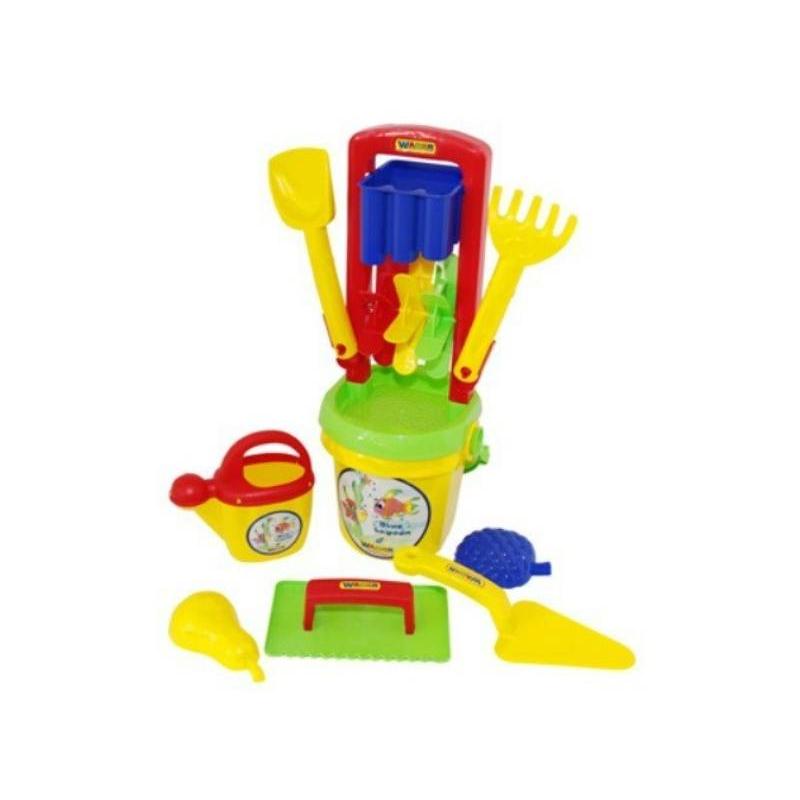 Набор для песочницы №457Набор для песочницы№457 марки Полесье. Игровой набор выполнен в ярких, привлекающих внимание ребенка цветах. Все элементы игрушки выполнены из высококачественного, ударопрочного пластика. Подходит для детей в возрасте от 2х лет.<br>Комплектация:мельница, ведро, лопатка, грабельки, формочки, лейка и набор каменщика.<br><br>Возраст от: 2 года<br>Пол: Для мальчика<br>Артикул: 634133<br>Бренд: Белоруссия<br>Размер: от 2 лет