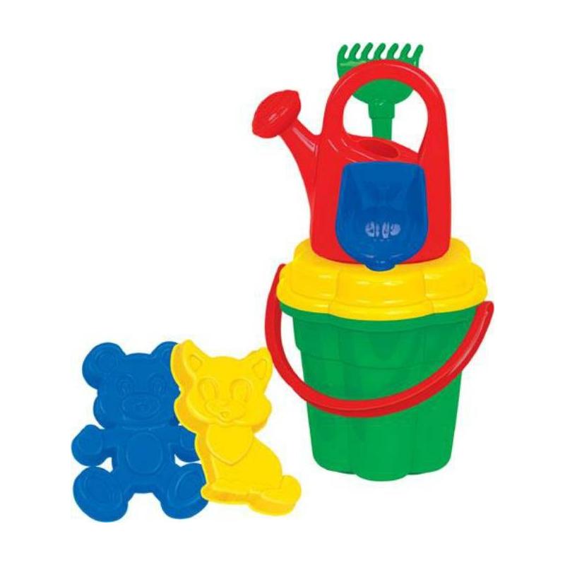 Набор для песочницы №97Набор для песочницы№97 марки Полесье. Игровой набор выполнен в ярких, привлекающих внимание ребенка цветах. Все элементы игрушки выполнены из высококачественного, ударопрочного пластика. Подходит для детей в возрасте от 2х лет.<br>Комплектация:ведро-цветок, ситечко-цветок, лопатка, грабельки, формочки в виде котёнка и медведя, лейка.<br><br>Возраст от: 2 года<br>Пол: Для девочки<br>Артикул: 634135<br>Бренд: Белоруссия<br>Размер: от 2 лет