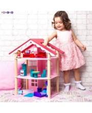 Кукольный домик Роза Хутор трехэтажный для кукол до 12 см 14 предметов мебели PAREMO