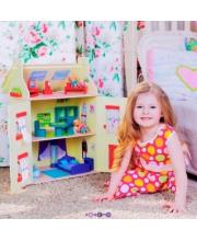 Кукольный домик София для кукол до 15 см 15 предметов мебели PAREMO