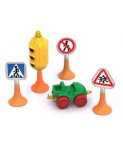 Набор Дорожные знаки № 2 светофор 3 знака машинка Нордик Нордпласт