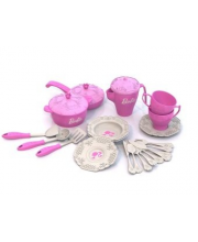 Набор кухонной и чайной посудки Барби 21 предмет в сетке Нордпласт