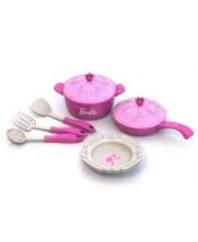 Набор кухонной посудки Барби 9 предметов в сетке Нордпласт