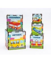 Сортер-пирамидка Транспорт 5 кубиков Woodland
