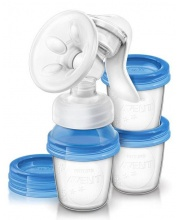 Ручной молокоотсос серия Natural с контейнерами Philips Avent