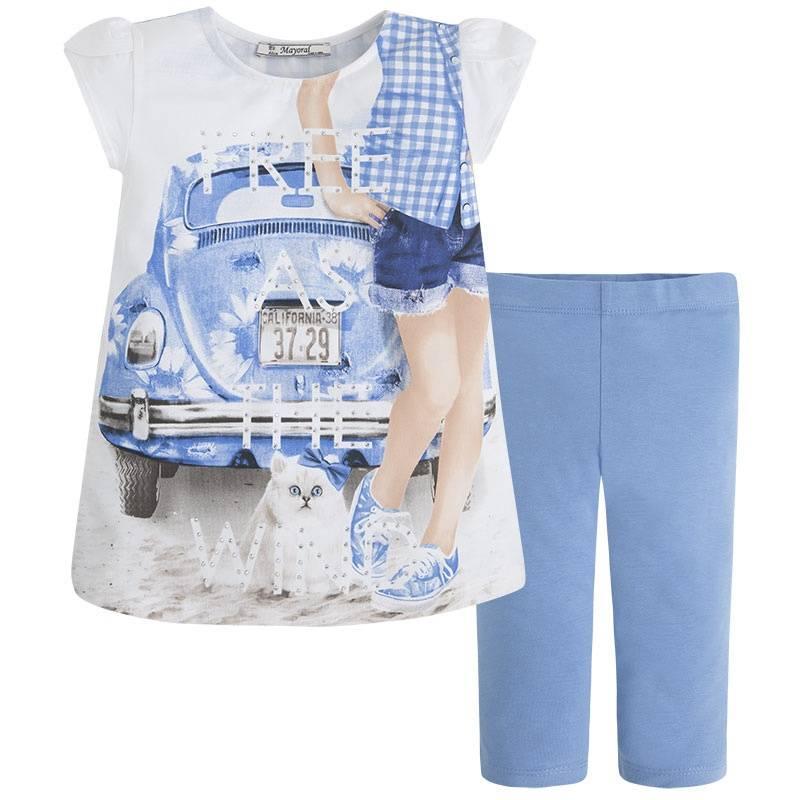 КомплектКомплектфутболка+леггинсыголубогоцвета марки Mayoral.<br>В комплект входит футболка, выполненная из хлопка с добавлением эластана, а также хлопковые леггинсы. Футболкадекорирована стразами и принтом в бело-голубую клетку,а также изображением милой кошки на фоне машины.Леггинсы однотонные с плотной резинкой на поясе.<br><br>Размер: 9 лет<br>Цвет: Голубой<br>Рост: 134<br>Пол: Для девочки<br>Артикул: 641478<br>Страна производитель: Индия<br>Сезон: Весна/Лето<br>Состав верха: 92% Хлопок, 8% Эластан<br>Состав низа: 92% Хлопок, 8% Эластан<br>Бренд: Испания