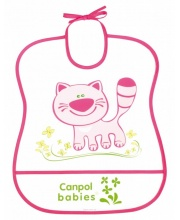 Нагрудник пластиковый мягкий рисунок котёнок Canpol Babies