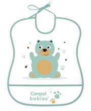 Нагрудник пластиковый мягкий рисунок: мишка Canpol Babies