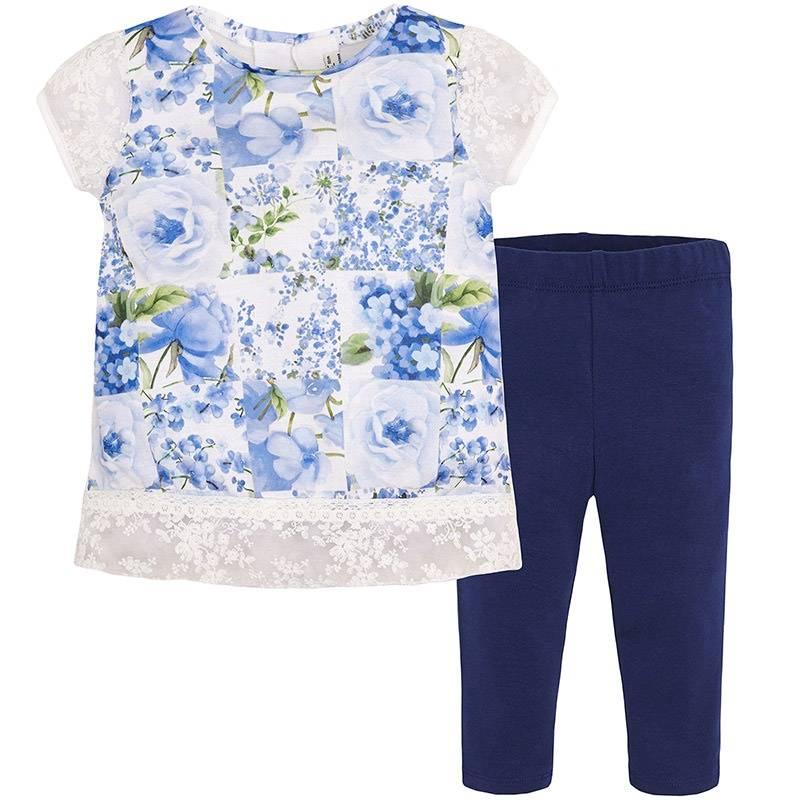 КомплектКомплектфутболка+леггинсытемно-синегоцвета марки Mayoral.<br>В комплект входит футболка и леггинсы. Футболка выполнена в нежных синих тонах и декорированацветочнымпринтом, а также изящным кружевом. Леггинсы однотонные с плотной резинкой на поясе.<br><br>Размер: 6 лет<br>Цвет: Темносиний<br>Рост: 116<br>Пол: Для девочки<br>Артикул: 641451<br>Страна производитель: Китай<br>Сезон: Весна/Лето<br>Состав верха: 100% Полиэстер<br>Состав низа: 57% Хлопок, 38% Полиэстер, 5% Эластан<br>Бренд: Испания<br>Вид застежки: Пуговицы