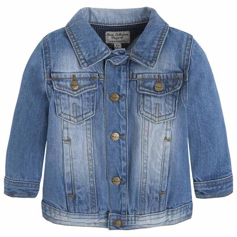 КурткаДжинсовая куртка голубогоцвета марки Mayoralдля мальчиков.<br>Куртка классического кроя, выполненная из плотной тканис эффектом потертости, застегивается на кнопки идополнена карманами.<br><br>Размер: 9 месяцев<br>Цвет: Голубой<br>Рост: 74<br>Пол: Для мальчика<br>Артикул: 640658<br>Бренд: Испания<br>Страна производитель: Бангладеш<br>Сезон: Весна/Лето<br>Состав: 100% Хлопок<br>Вид застежки: Кнопки