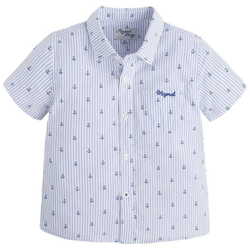РубашкаРубашка белогоцвета марки Mayoralдлямальчиков.<br>Рубашка с коротким рукавом выполнена из чистого хлопка, дополнена карманом и украшена принтом в морском стиле.<br><br>Размер: 12 месяцев<br>Цвет: Белый<br>Рост: 80<br>Пол: Для мальчика<br>Артикул: 640759<br>Страна производитель: Индия<br>Сезон: Весна/Лето<br>Состав: 100% Хлопок<br>Бренд: Испания<br>Вид застежки: Пуговицы