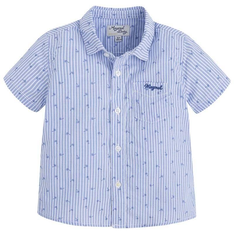 РубашкаРубашка голубогоцвета марки Mayoralдлямальчиков.<br>Полосатая рубашка с коротким рукавом выполнена из чистого хлопка, дополнена карманом и украшена принтомс изображениями пальм.<br><br>Размер: 9 месяцев<br>Цвет: Голубой<br>Рост: 74<br>Пол: Для мальчика<br>Артикул: 640754<br>Страна производитель: Индия<br>Сезон: Весна/Лето<br>Состав: 100% Хлопок<br>Бренд: Испания<br>Вид застежки: Пуговицы