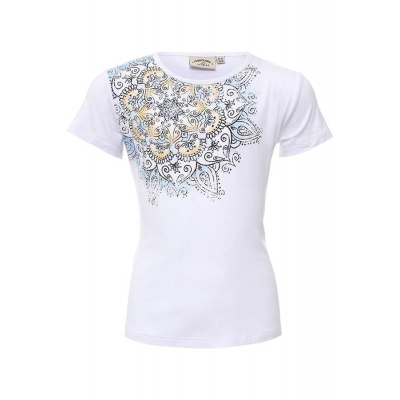 ФутболкаФутболка белогоцвета марки Finn Flare для девочек.<br>Однотонная футболка с коротким рукавом выгодно дополнена цветочным узором в желто-голубых тонах.<br><br>Размер: 9 лет<br>Цвет: Белый<br>Рост: 134<br>Пол: Для девочки<br>Артикул: 640406<br>Страна производитель: Вьетнам<br>Сезон: Весна/Лето<br>Состав: 95% Вискоза, 5% Эластан<br>Бренд: Финляндия