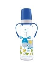 Бутылочка Cheerful animals с ручками силиконовая соска 250 мл ослик Canpol Babies