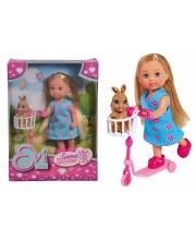 Кукла на самокате с кроликом Evi