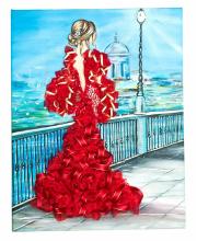 Мозаика из пайеток Девушка в красном Волшебная мастерская