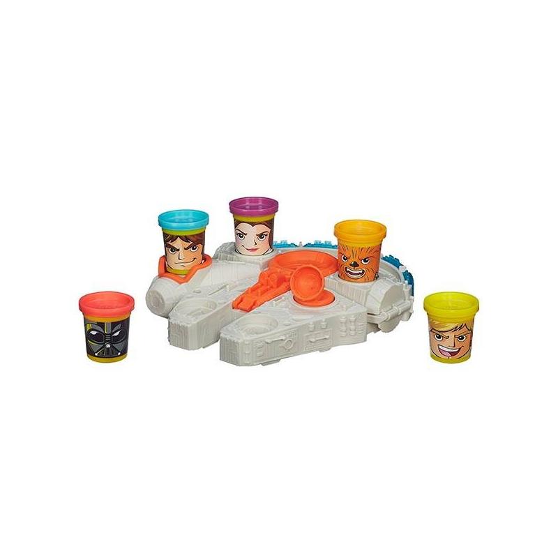 Набор пластилина Тысячелетний СоколНабор пластилина Тысячелетний Сокол марки Play-Doh для мальчиков.Игровой набор выполненпо мотивам знаменитогофильма Star Wars. В набореесть красивый космический корабль с катапультой,баночки разноцветного пластилина украшены изображением любимых героев фильма. С помощью данного набора можно слепить различные предметы (игрушечные бомбы, оружие, небольшие корабли).<br>Комплектация: 5 баночек с пластилином, Тысячелетний сокол с катапультой, 5 съемных штампов.<br>Размер упаковки: 33х6,7х33 см.<br>Вес: 0,95 кг.<br><br>Размер: от 3 лет<br>Пол: Для мальчика<br>Артикул: 642699<br>Бренд: США<br>Лицензия: Star Wars