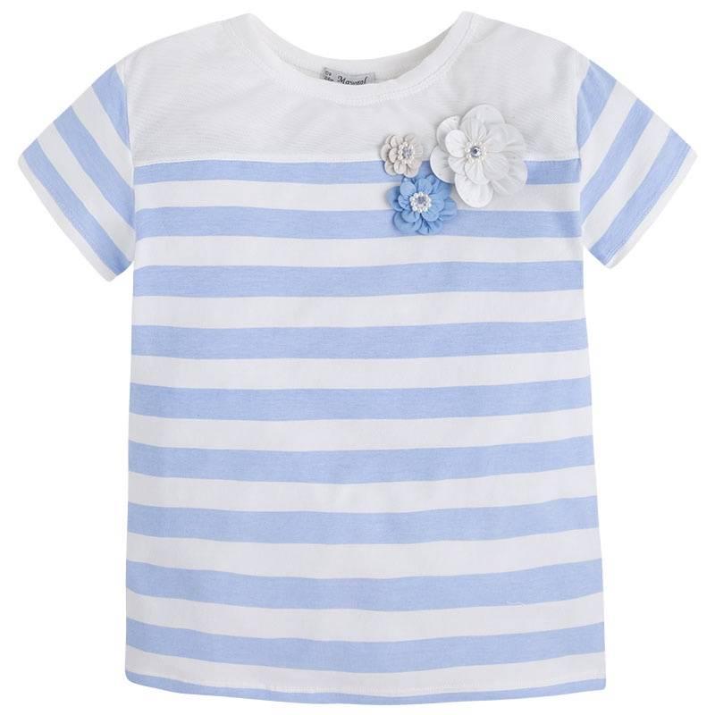 ФутболкаФутболка голубого цвета марки Mayoral для девочек.<br>Хлопоковая футболка с коротким рукавом декорирована полосками молочного цвета, объемными цветочками, а также вставкой в сеточку.<br><br>Размер: 14 лет<br>Цвет: Голубой<br>Рост: 157<br>Пол: Для девочки<br>Артикул: 642636<br>Бренд: Испания<br>Страна производитель: Китай<br>Сезон: Весна/Лето<br>Состав: 86% Хлопок, 10% Полиэстер, 4% Эластан
