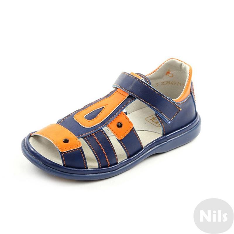 СандалетыСандалетытемно-синегоцвета марки Топ-Топдля мальчиков.<br>Стильные сандалеты на липучке выполнены в насыщенном цвете и выгодно подчеркнуты ярко-оранжевыми вставками.Подошва из ТЭП легкая и упругая,такжеимеет высокую стойкость к истиранию, такая обувь прослужит долго. Стелька из натуральной кожи позволяет ножкам дышать и отличается исключительной мягкостью.<br><br>Размер: 31<br>Цвет: Темносиний<br>Пол: Для мальчика<br>Артикул: 641841<br>Страна производитель: Россия<br>Сезон: Весна/Лето<br>Материал верха: Искусственная кожа<br>Материал стельки: Натуральная кожа<br>Материал подошвы: ТЭП (термопластик)<br>Бренд: Россия