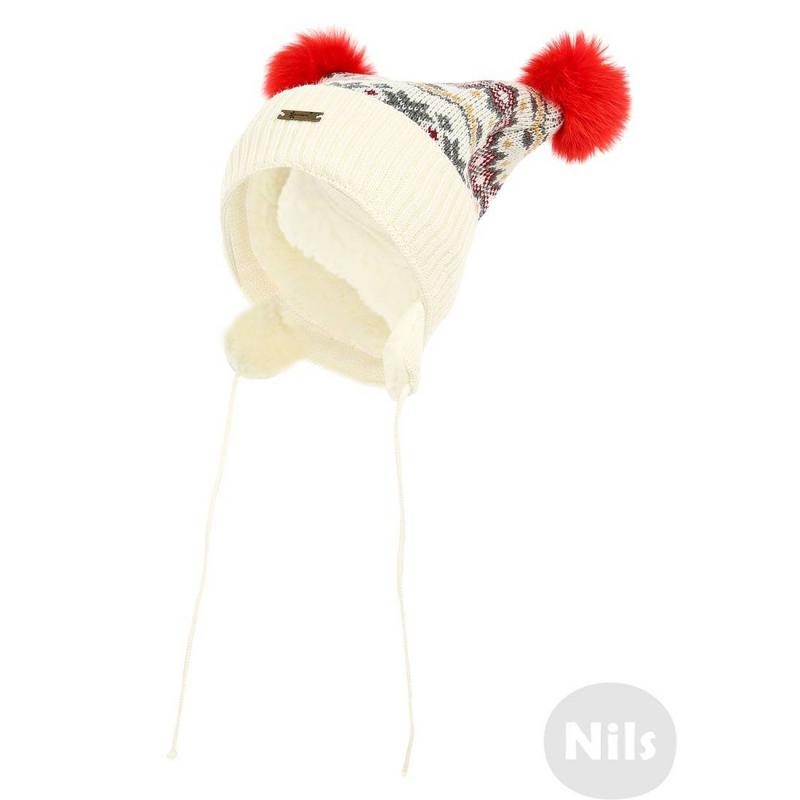 ШапкаШапкаиз шерсти альпаки кремового цвета с орнаментом марки GAKKARD для девочек. Теплая шапка с завязками дополнена мягкой шерстяной подкладкой и украшена двумя помпонами из натурального меха.<br><br>Цвет: Бежевый<br>Размер шапки: 54<br>Пол: Для девочки<br>Артикул: 605190<br>Бренд: Россия<br>Страна производитель: Россия<br>Сезон: Осень/Зима<br>Состав: 100% Шерсть<br>Размер: Без размера