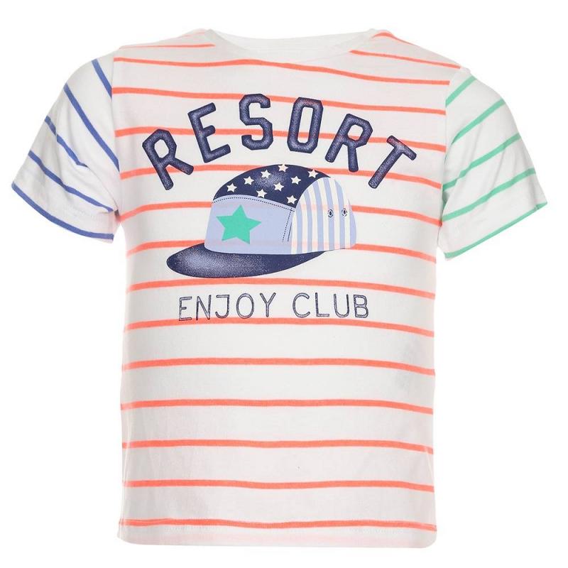 ФутболкаФутболка белогоцвета марки Mayoralдля мальчиков.<br>Хлопковая футболка с коротким рукавом украшена разноцветными полосками, а также стильным принтом с изображением кепки. Модель дополнена кнопками на плече для удобства переодевания малыша.<br><br>Размер: 9 месяцев<br>Цвет: Белый<br>Рост: 74<br>Пол: Для мальчика<br>Артикул: 640698<br>Страна производитель: Индия<br>Сезон: Весна/Лето<br>Состав: 89% Хлопок, 11% Полиэстер<br>Бренд: Испания