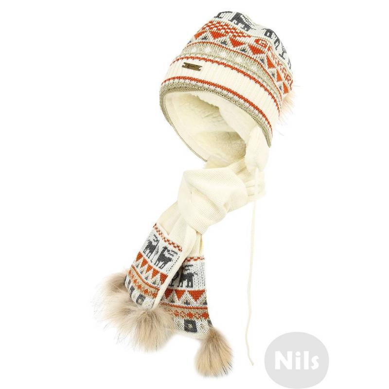 КомплектКомплект (шапка+шарф) из шерсти альпаки кремового цвета с орнаментом марки GAKKARD. Теплая шапка с завязками дополнена мягкой шерстяной подкладкой и украшена двумя помпонами из натурального меха. Шарф украшен меховой отделкой.<br><br>Размер: 4 года<br>Цвет: Бежевый<br>Размер: 52<br>Пол: Для девочки<br>Артикул: 605124<br>Страна производитель: Россия<br>Сезон: Осень/Зима<br>Состав: 100% Шерсть<br>Бренд: Россия