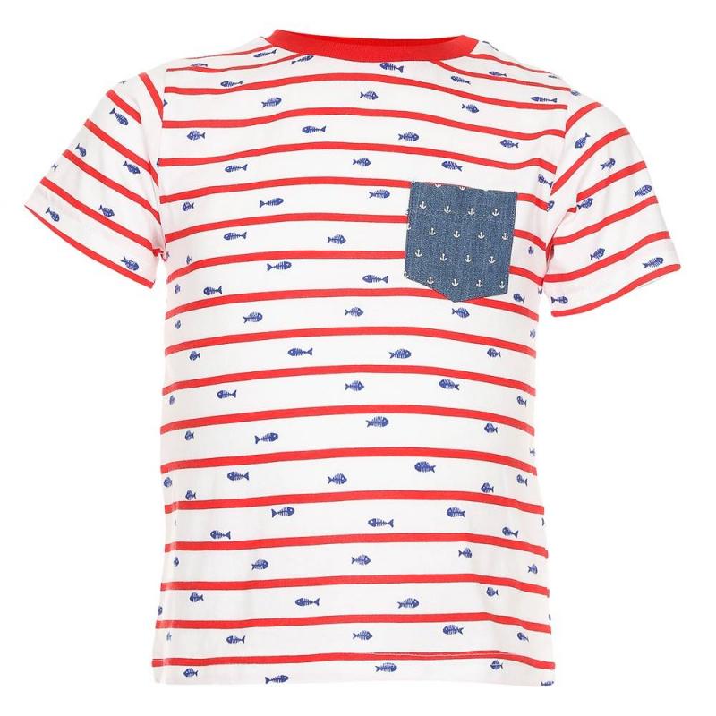 ФутболкаФутболка белогоцвета марки Mayoralдля мальчиков.<br>Хлопковая футболка с коротким рукавом дополнена кармашком синего цвета с белыми якорями, а также кнопками на плече для удобства переодевания малыша. Модель в красно-белую полоску украшена принтом с изображениями рыбок.<br><br>Размер: 18 месяцев<br>Цвет: Белый<br>Рост: 86<br>Пол: Для мальчика<br>Артикул: 640716<br>Бренд: Испания<br>Страна производитель: Индия<br>Сезон: Весна/Лето<br>Состав: 100% Хлопок<br>Вид застежки: Кнопки