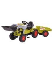 Детский педальный трактор погрузчик с прицепом Claas BIG