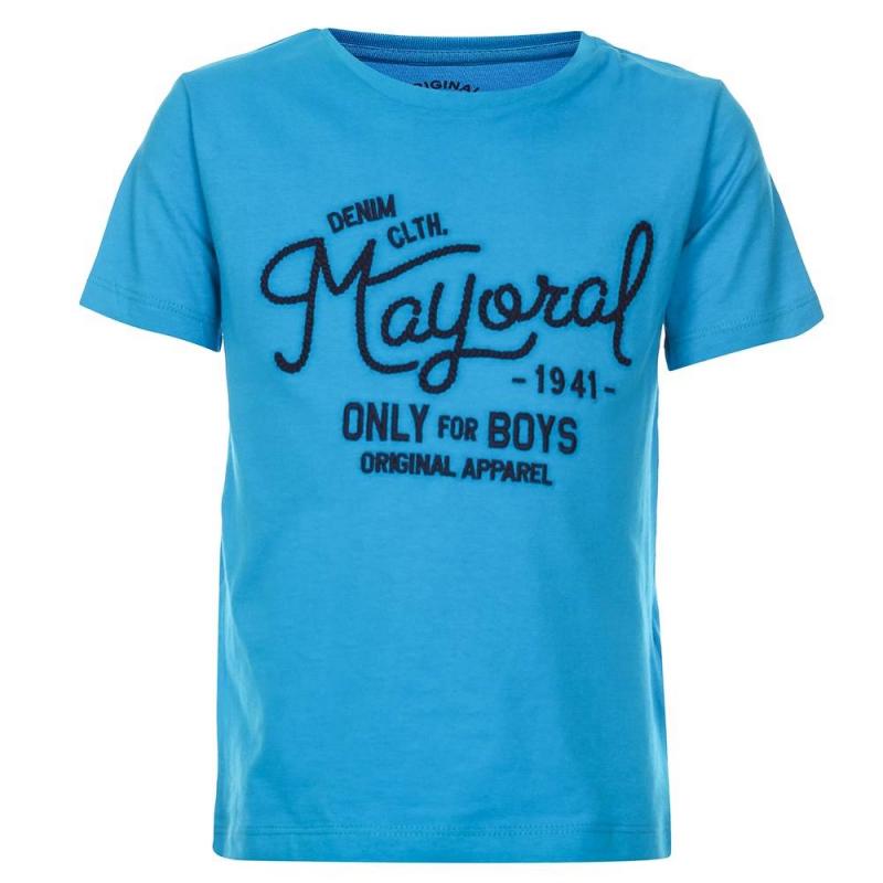 ФутболкаФутболка голубогоцвета марки Mayoralдля мальчиков.<br>Стильная футболка с короткимрукавомвыполнена из чистого хлопка и декорированавышитой надписью темно-синего цвета.<br><br>Размер: 3 года<br>Цвет: Голубой<br>Рост: 98<br>Пол: Для мальчика<br>Артикул: 640473<br>Страна производитель: Бангладеш<br>Сезон: Весна/Лето<br>Состав: 100% Хлопок<br>Бренд: Испания