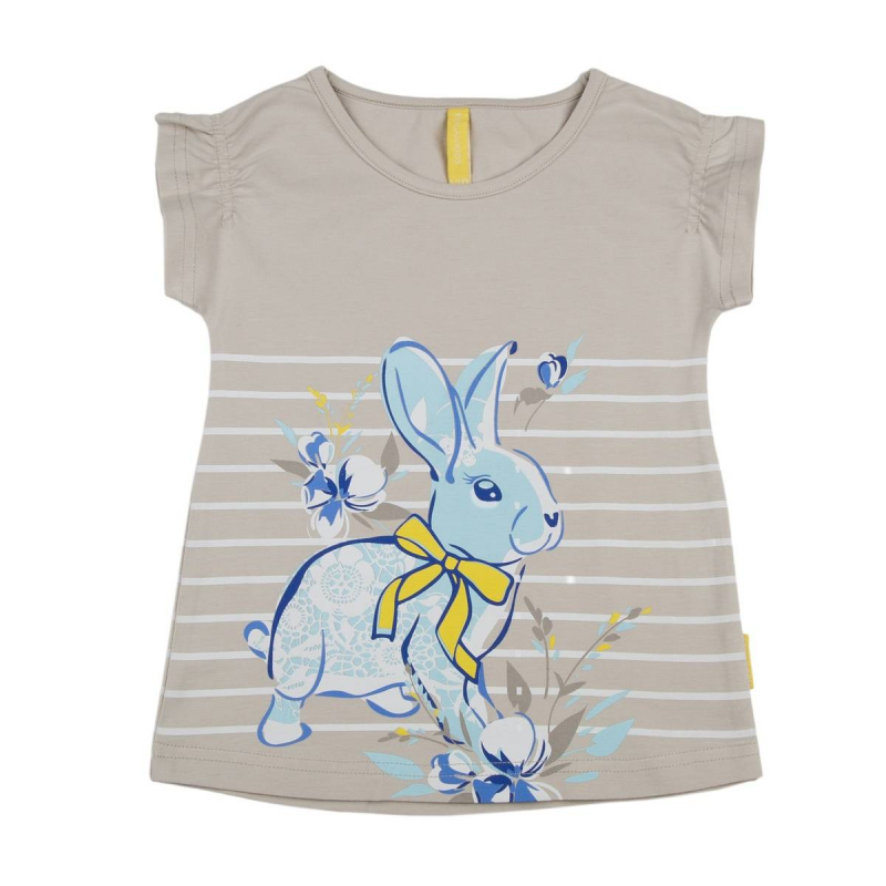ФутболкаФутболкабежевогоцвета марки KOGANKIDS для девочек.<br>Футболка выполнена из хлопка с добавлением эластана и декорирована изображением милого кролика, а также принтом в белую полоску.<br><br>Размер: 10 лет<br>Цвет: Бежевый<br>Рост: 140<br>Пол: Для девочки<br>Артикул: 643468<br>Страна производитель: Узбекистан<br>Сезон: Весна/Лето<br>Состав: 92% Хлопок, 8% Эластан<br>Бренд: Россия