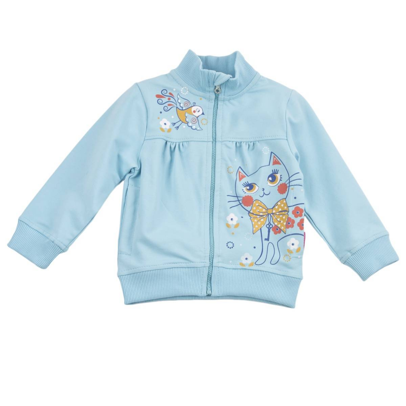 ТолстовкаТолстовкаголубогоцвета марки KOGANKIDS для девочек.<br>Толстовка на молнии, выполненная из хлопка с добавлением эластана, декорирована принтом с изображением милой кошечки и птички. Модель дополнена манжетами и небольшими карманами.<br><br>Размер: 18 месяцев<br>Цвет: Голубой<br>Рост: 86<br>Пол: Для девочки<br>Артикул: 643360<br>Страна производитель: Узбекистан<br>Сезон: Весна/Лето<br>Состав: 95% Хлопок, 5% Эластан<br>Бренд: Россия<br>Вид застежки: Молния